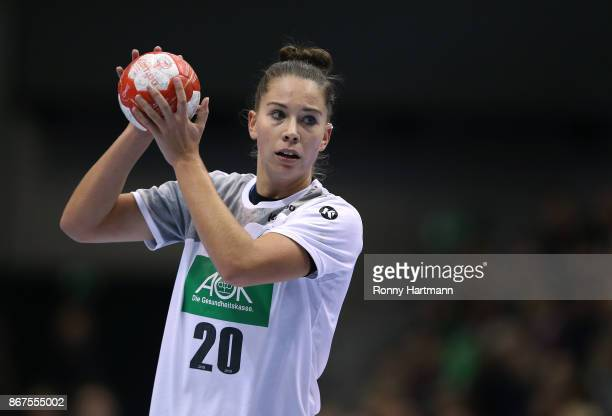 Emily Boelk of Germany controls the ball during the women's international friendly match between Germany and The Netherlands at Getec Arena on...