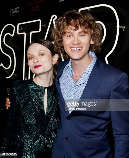 Emily Browning and Bruce Langley attend the premiere of Starz's 'American Gods' at ArcLight Cinemas Cinerama Dome on April 20, 2017 in Hollywood,...