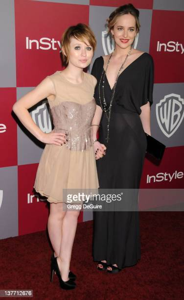 Emily Browning and Dakota Johnson arrive at the 12th Annual Warner Bros and Instyle PostGolden Globe Party at the Beverly Hilton Hotel on January 16...
