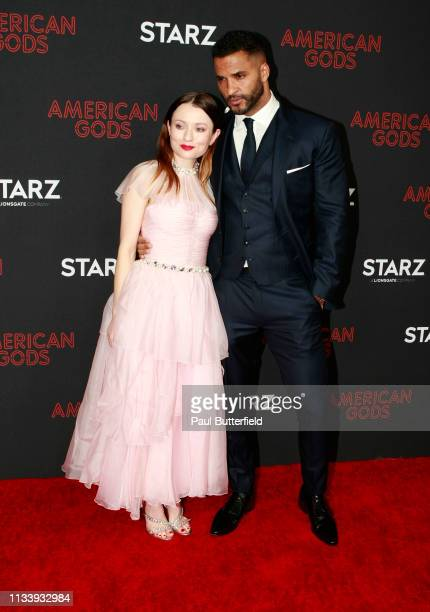 """Emily Browning and Ricky Whittle attend the premiere of STARZ's """"American Gods"""" season 2 at Ace Hotel on March 05, 2019 in Los Angeles, California."""
