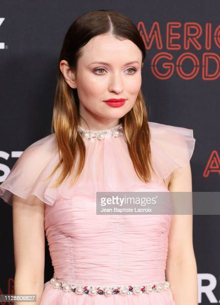 Emily Browning attends the premiere of STARZ's 'American Gods' season 2 at Ace Hotel on March 05 2019 in Los Angeles California