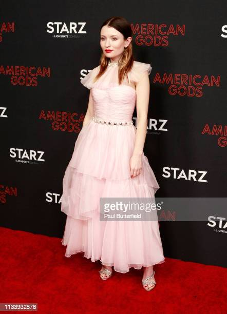 """Emily Browning attends the premiere of STARZ's """"American Gods"""" season 2 at Ace Hotel on March 05, 2019 in Los Angeles, California."""