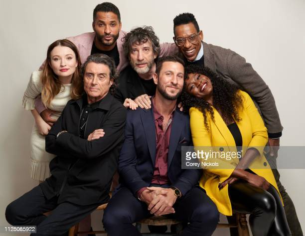 Emily Browning, Ian McShane, Ricky Whittle, Neil Gaiman, Pablo Schreiber, Orlando Jones, and Yetide Badaki of Starz 'American Gods' pose for a...