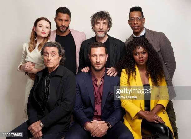 Emily Browning, Ian McShane, Ricky Whittle, Neil Gaiman, Pablo Schreiber, Orlando Jones, and Yetide Badaki of Starz's 'American Gods' pose for a...