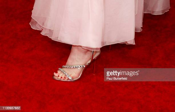 """Emily Browning, shoe detail, attends the premiere of STARZ's """"American Gods"""" season 2 at Ace Hotel on March 05, 2019 in Los Angeles, California."""