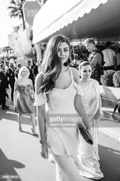 Emily Canham departs the Martinez Hotel on May 24 2017 in Cannes France