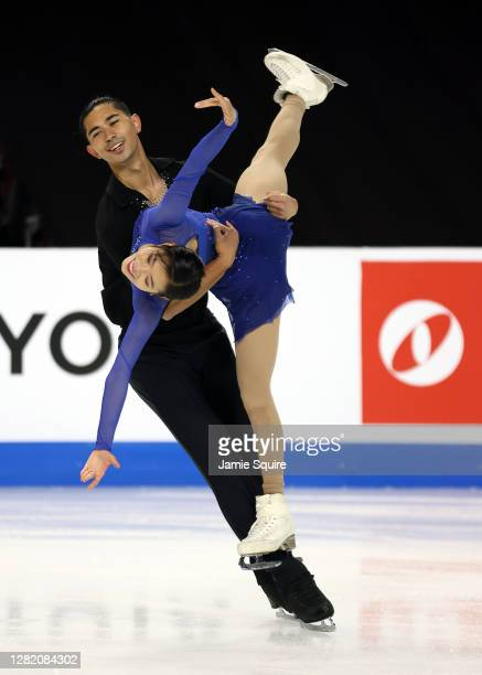 Emily Chan and Spencer Akira Howe of the USA compete in the Pairs Free Skating program during the ISU Grand Prix of Figure Skating at the Orleans...