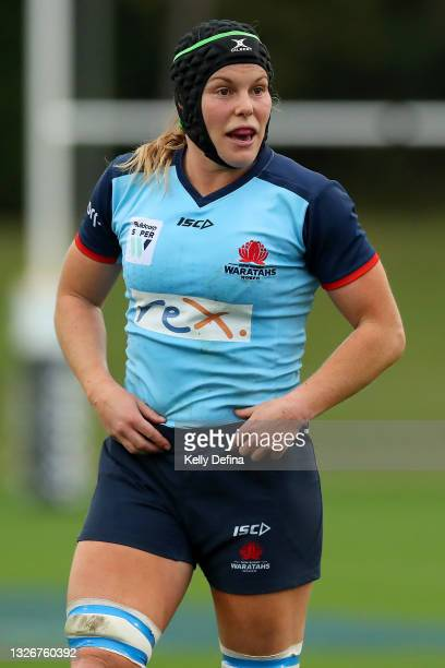 Emily Chancellor of the Waratahs looks on during the Super W Final match between the NSW Waratahs and the Queensland Reds at Coffs Harbour...