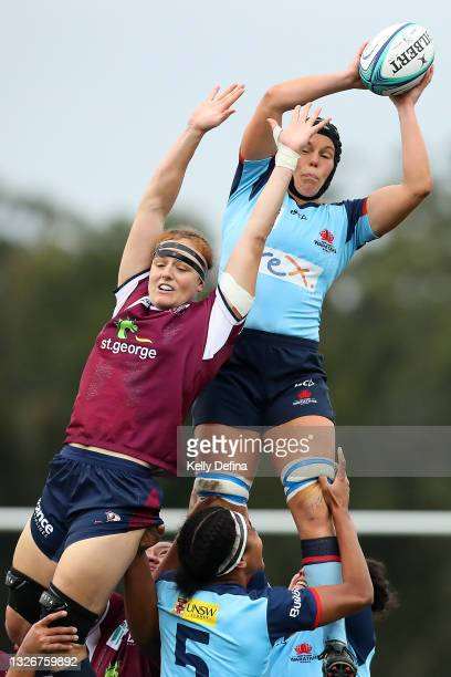Emily Chancellor of the Waratahs wins a line-out ball during the Super W Final match between the NSW Waratahs and the Queensland Reds at Coffs...