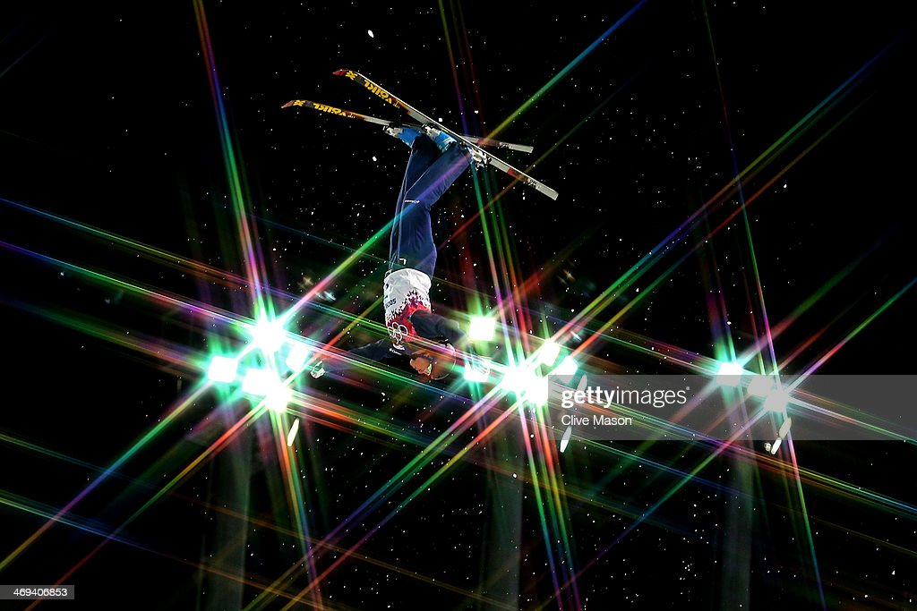 Emily Cook of the United States makes a practice jump ahead of the Freestyle Skiing Ladies' Aerials Qualification on day seven of the Sochi 2014 Winter Olympics at Rosa Khutor Extreme Park on February 14, 2014 in Sochi, Russia.