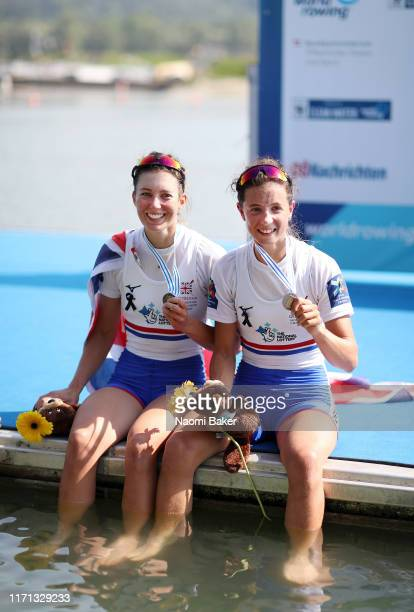 Emily Craig and Imogen Grant of Great Britain pose for a photograph after winning the Bronze Medal in the Lightweight Women's Sculls final during Day...