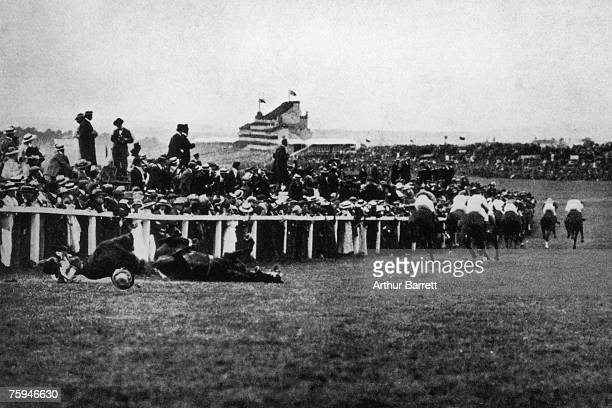 Emily Davison is fatally injured as she tries to stop the King's horse 'Amner' at Epsom on Derby Day to draw attention to the Women's Suffragette...