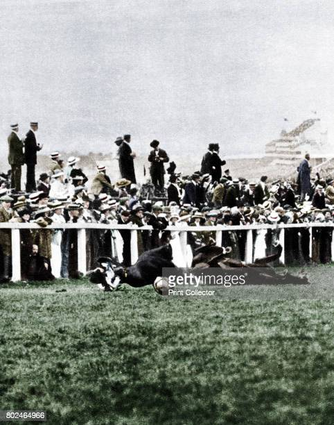 Emily Davison throwing herself in front of the King's horse during the Derby Epsom Surrey 1913 Emily Davison an English suffragette threw herself...