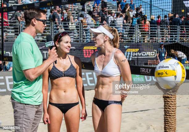 Emily Day and Betsi Flint being interviewed after their win in the women's Finals of the AVP Pro Beach Volleyball Tour on Sunday July 8 2018 at Pier...
