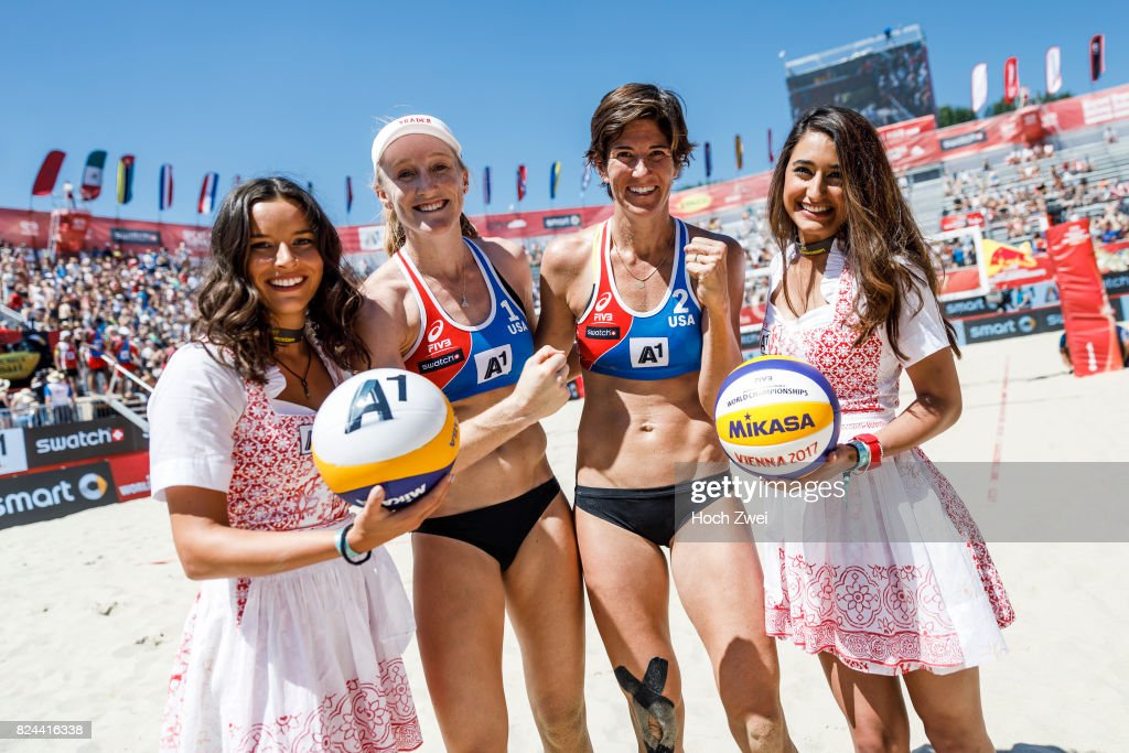 Emily Day and Nicole Branagh of the United States seen during Day 2 of the FIVB Beach Volleyball World Championships 2017 on July 29, 2017 in Vienna, Austria.