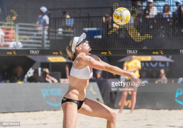 Emily Day at the net for a set up in the women's Finals of the AVP Pro Beach Volleyball Tour on Sunday July 8 2018 at Pier 32 in San Francisco CA