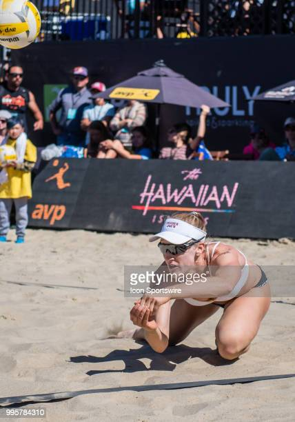 Emily Day gets a save at the line in the women's Finals of the AVP Pro Beach Volleyball Tour on Sunday July 8 2018 at Pier 32 in San Francisco CA