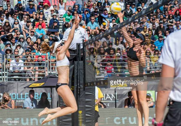 Emily Day goes up for a missed block in the women's Finals of the AVP Pro Beach Volleyball Tour on Sunday July 8 2018 at Pier 32 in San Francisco CA