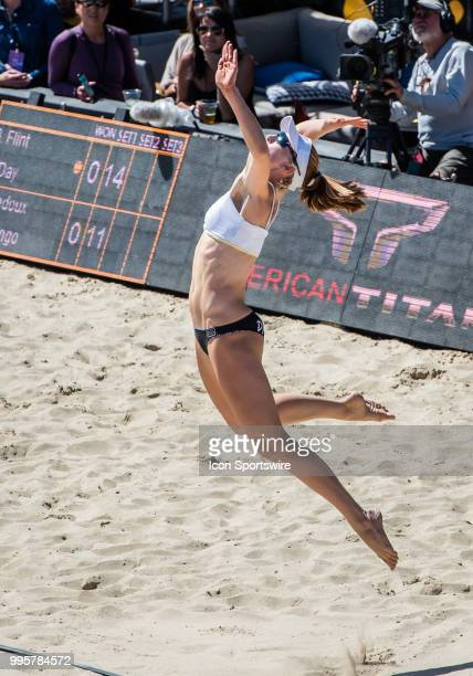 Emily Day makes a serve in the first set of the women's Finals of the AVP Pro Beach Volleyball Tour on Sunday July 8 2018 at Pier 32 in San Francisco...