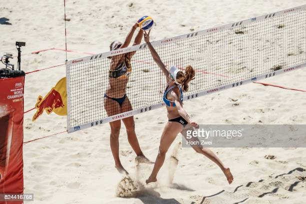 Emily Day of the United States spikes the ball during Day 2 of the FIVB Beach Volleyball World Championships 2017 on July 29 2017 in Vienna Austria