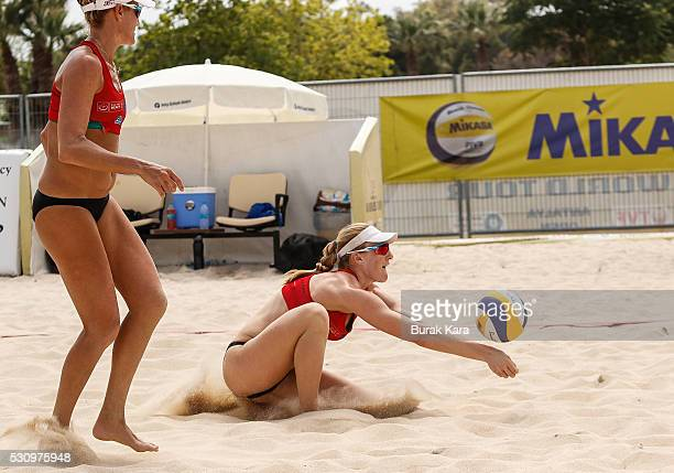 Emily Day of USA receives the Mikasa during the 3rd day of the FIVB Antalya Open beach volley tournament May 12 in the Mediterranean resort city of...