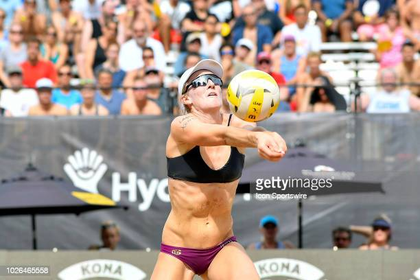 Emily Day sets the ball against Terese Cannon and Sarah Sponcil at the AVP Gold Series Chicago Championships on September 1 2018 at Oak Street Beach...