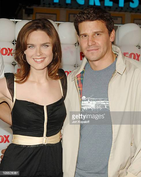 Emily Deschanel and David Boreanaz during FOX Summer 2005 AllStar Party Arrivals at Santa Monica Pier in Santa Monica California United States