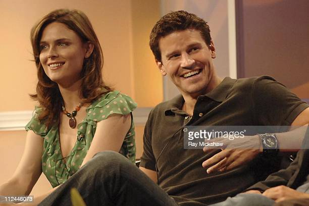 Emily Deschanel and David Boreanaz of the new FOX drama BONES answers questions from the television critics during the opening session of FOX's...