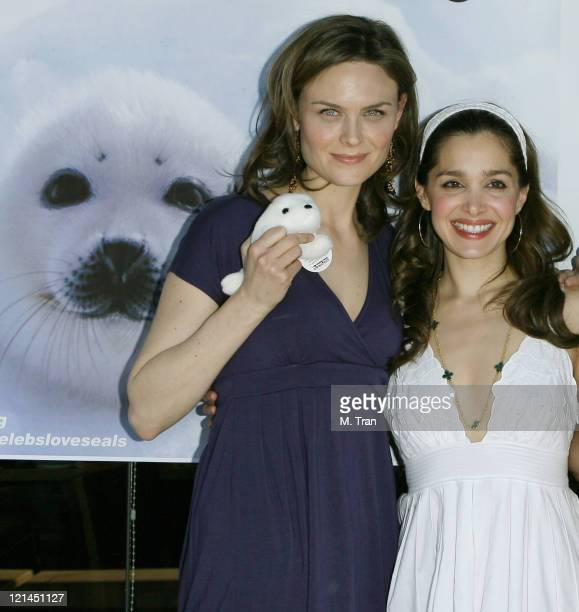 Emily Deschanel and Gina Philips during Save the Seals Day in LA at Real Food Daily in West Hollywood California United States