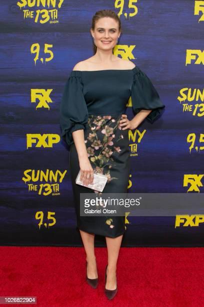 Emily Deschanel arrives for the premiere of FXX's 'It's Always Sunny In Philadelphia' Season 13 at Regency Bruin Theatre on September 4 2018 in Los...