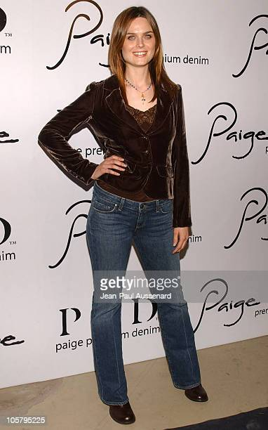 Emily Deschanel during Paige Premium Denim Party Arrivals at Paige Premium Denim Flagship store in Los Angeles California United States