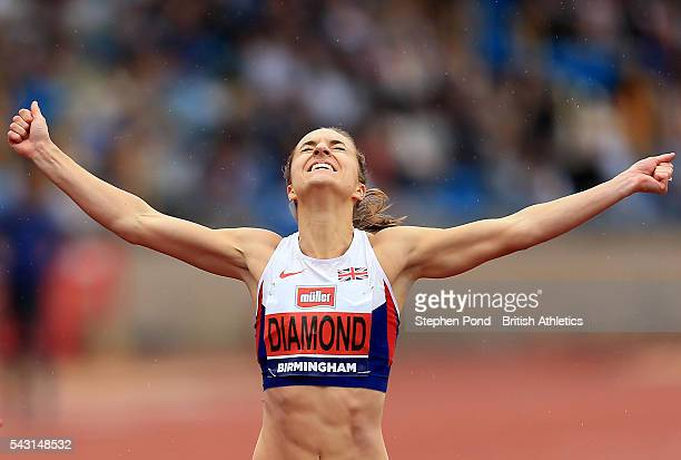 Emily Diamond of Great Britain celebrates winning the womens 400m final during day three of the British Championships Birmingham at Alexander Stadium...