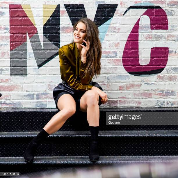 Emily DiDonato is seen during a photoshoot for Maybelline in SoHo on March 23 2018 in New York City