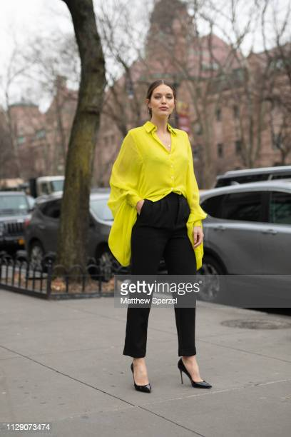 Emily DiDonato is seen on the street during New York Fashion Week AW19 wearing Carolina Herrera on February 11 2019 in New York City