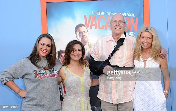 Emily Evelyn Chase Caley Leigh Chase actor Chevy Chase and his wife Jayni Chase arrive at the Premiere Of Warner Bros 'Vacation' at Regency Village...