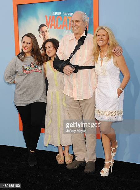 Emily Evelyn Chase Caley Leigh Chase actor Chevy Chase and wife Jayni Chase arrive at the Premiere Of Warner Bros 'Vacation' at Regency Village...