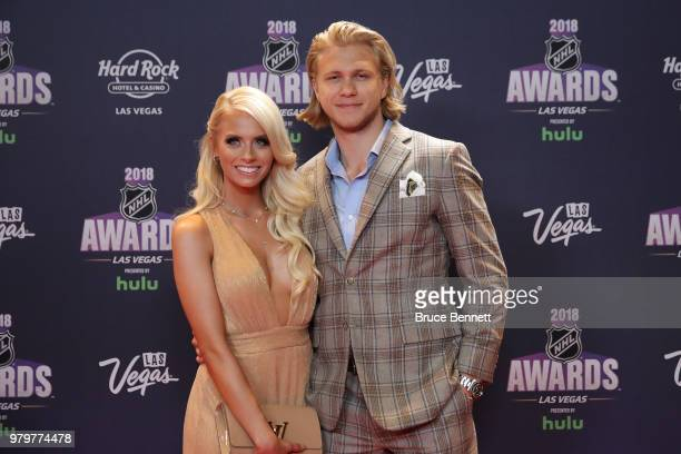 Emily Ferguson and William Karlsson of the Vegas Golden Knights arrive at the 2018 NHL Awards presented by Hulu at the Hard Rock Hotel Casino on June...