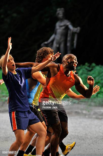 Emily Fons as Megacle with artists of the company in Garsington Opera's production of Antonio Vivaldi's L'Olimpiade directed by David Freeman and...
