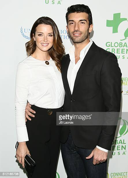 Emily Foxler and Justin Baldoni attend Global Green USA's 13th annual preOscar party at Mr C Beverly Hills on February 24 2016 in Los Angeles...