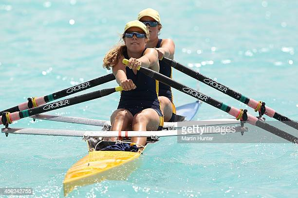 Emily Gardiner and Ellen Loughnan of Rangi Ruru compete in the Womens Double Sculls during the 2013 Meridian Otago Championships at Lake Ruataniwha...