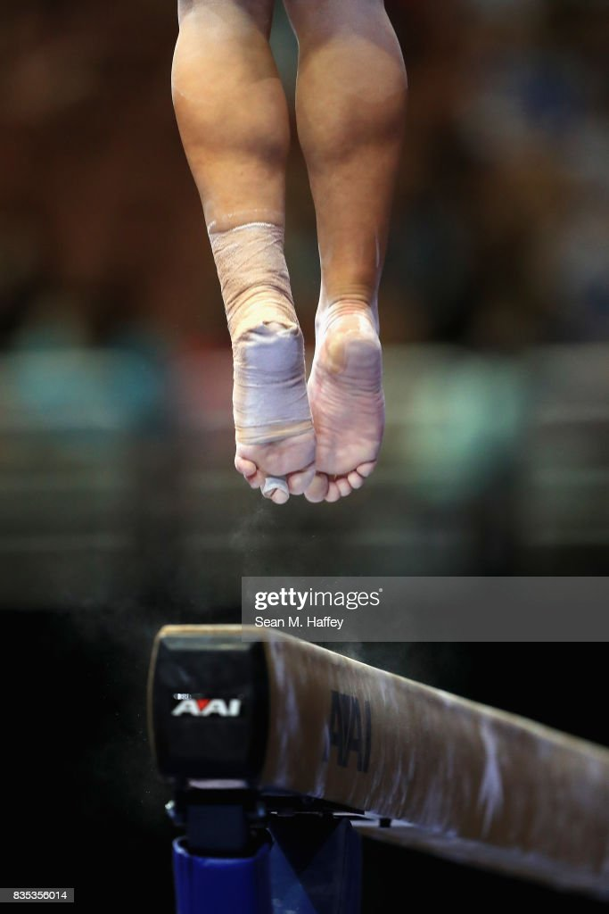 Emily Gaskins competes on the Balance Beam during the P&G Gymnastics Championships at Honda Center on August 18, 2017 in Anaheim, California.