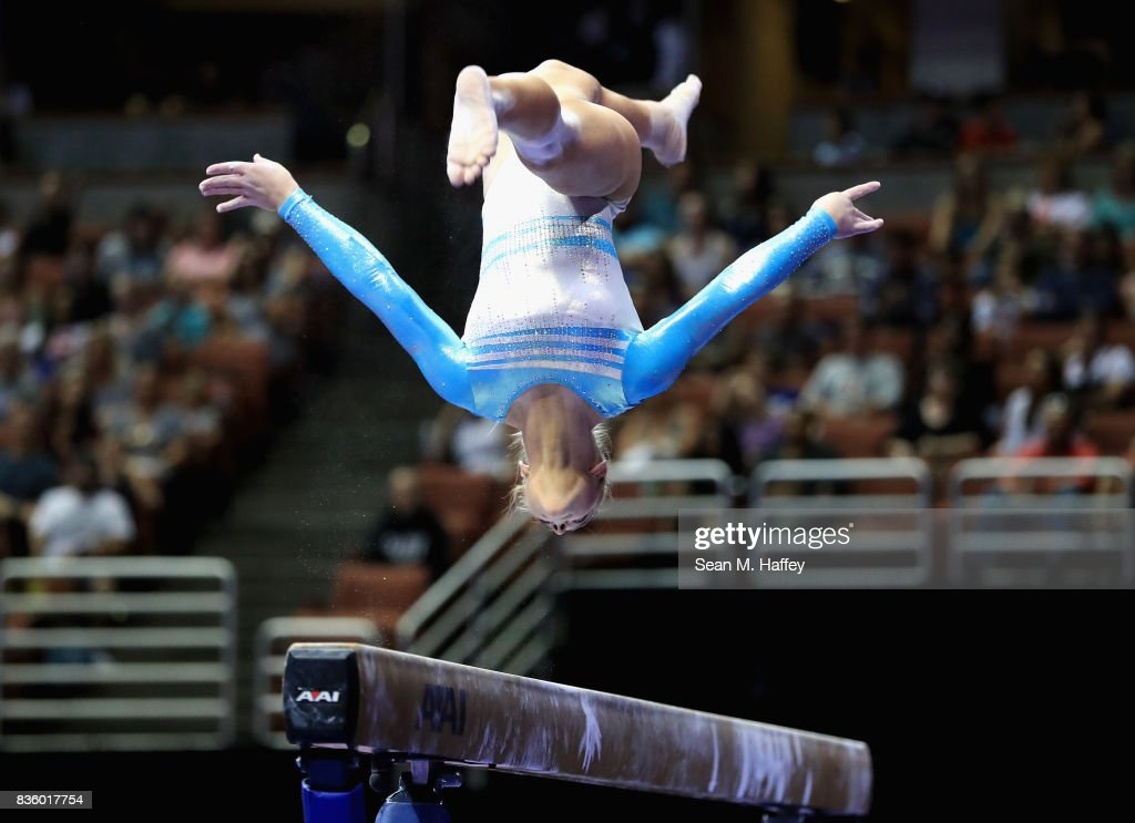 Emily Gaskins competes on the Balance Beam during the P&G Gymnastics Championships at Honda Center on August 20, 2017 in Anaheim, California.