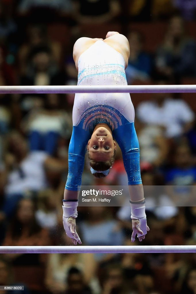 Emily Gaskins competes on the Uneven Bars during the P&G Gymnastics Championships at Honda Center on August 20, 2017 in Anaheim, California.