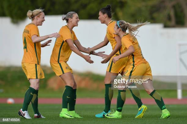Emily Gielnik celebrates with team mates after scoring a goal against China during the Women's Algarve Cup Tournament match between China and...