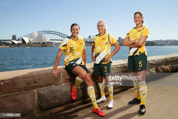Emily Gielnik Gema Simon and Laura Alleway pose during the Australian Matildas FIFA World Cup Squad announcement at Mrs Macquarie's Chair on May 14...