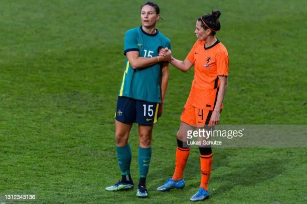 Emily Gielnik of Australia and Merel van Dongen of Netherlands shake hands after the International Friendly between Netherlands and Australia at...
