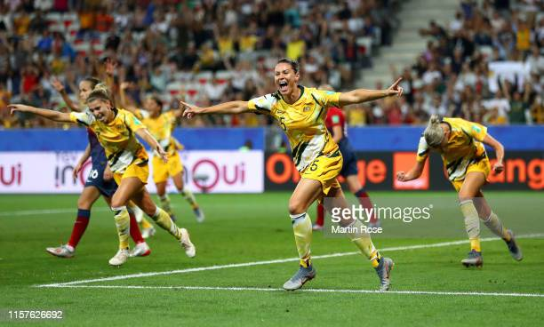 Emily Gielnik of Australia celebrates after her team's first goal during the 2019 FIFA Women's World Cup France Round Of 16 match between Norway and...