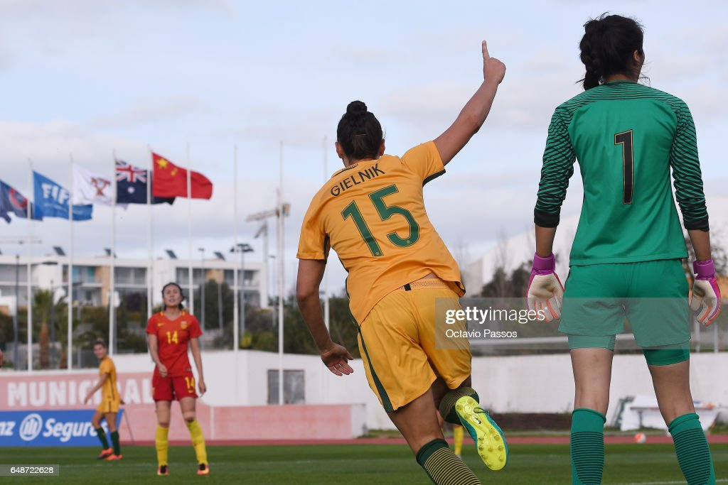 Emily Gielnik of Australia celebrates after scoring a goal against China during the Women's Algarve Cup Tournament match between China and Australia at Municipal de Albufeira on March 6, 2017 in Albufeira, Portugal.