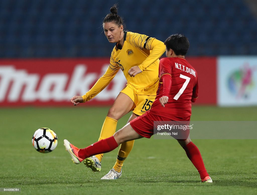 Emily Gielnik of Australia in action during the AFC Women's Asian Cup Group B match between Vietnam and Australia at the Amman International Stadium on April 10, 2018 in Amman, Jordan.
