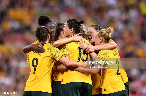 Emily Gielnik of Australia is congratulated by team mates after scoring a goal during the 2019 Cup of Nations match between Australia and the Korea...
